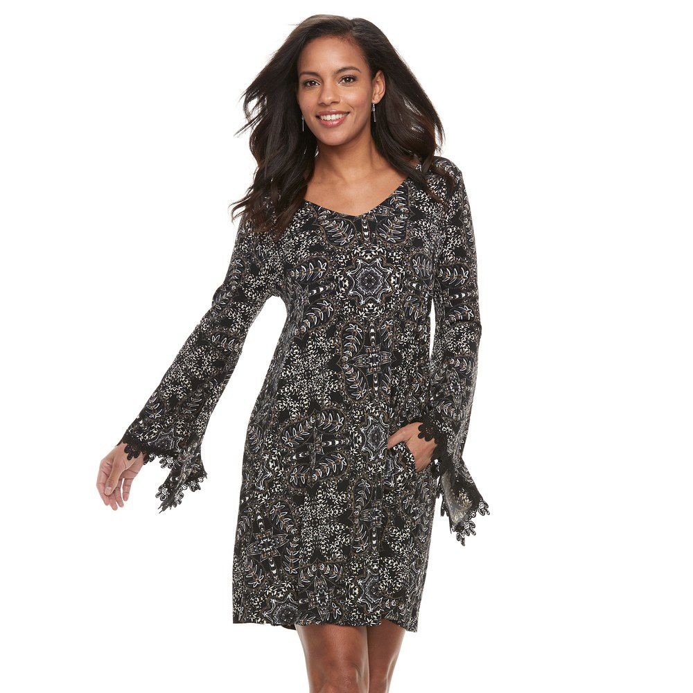 Women's Nina Leonard Floral Bell Sleeve A-Line Dress - Shop Livezy Lane