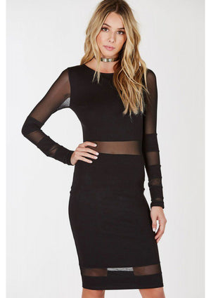 Hindsight Mesh Panel Dress - Shop Livezy Lane