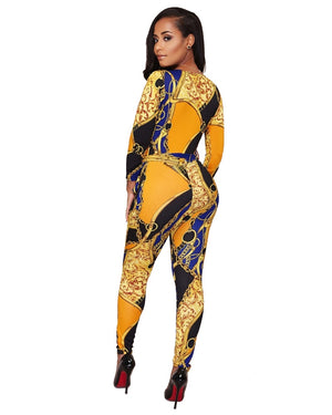 Stylish Chain Print Bandage Jumpsuit - Shop Livezy Lane