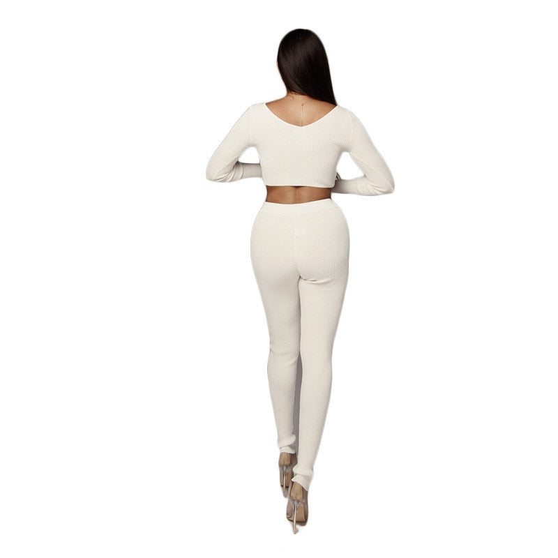 Two Piece Knit Ribbed Slash Neck Crop Tops Slim Long Pencil Pant Set