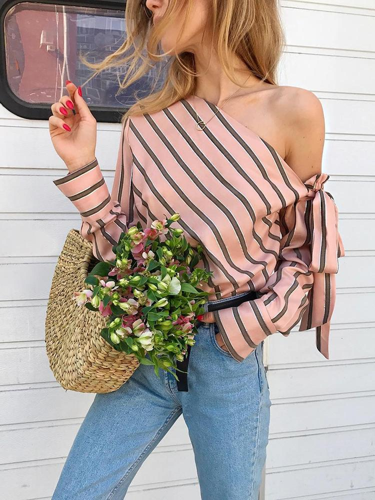 Striped One Shoulder Women Sexy Blouse - Shop Livezy Lane