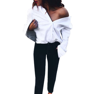 V Neck Long Sleeve Loose Shirts - Shop Livezy Lane