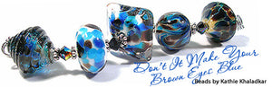 Don't It Make Your Brown Eyes Blue frit blend by Glass Diversions - beads by Kathie Khaladlar