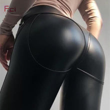 Load image into Gallery viewer, Sexy Leather Leggings Front  Zipper
