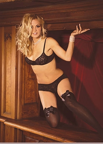 Opaque Thigh Hi With Satin Bow - Queen Size - Black