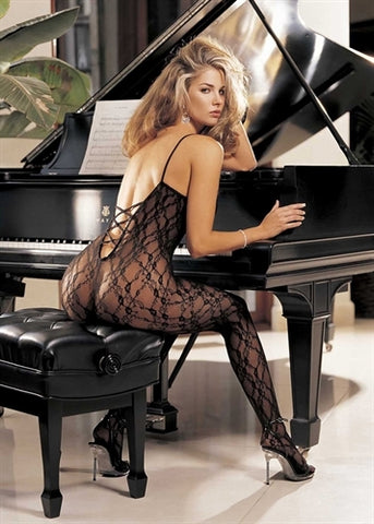 Criss-Cross Back Body Stocking  - One Size - Black