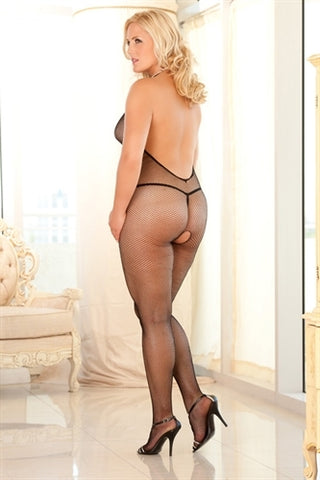 Crotchless Halter Fishnet Bodystocking - Queen Size - Black