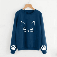 Women Autumn And Winter Sweatshirt Fashion Casual Cat
