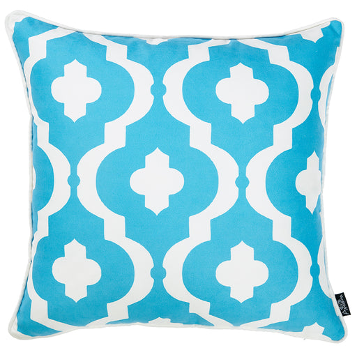 "Marine Blue Moroccon Stars Decorative Throw Pillow Cover Printed Home Decor 18""x18"""
