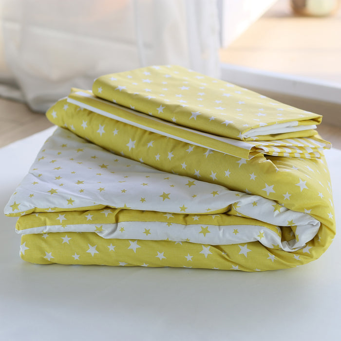 3 Piece Crib Bedding Set, Yellow