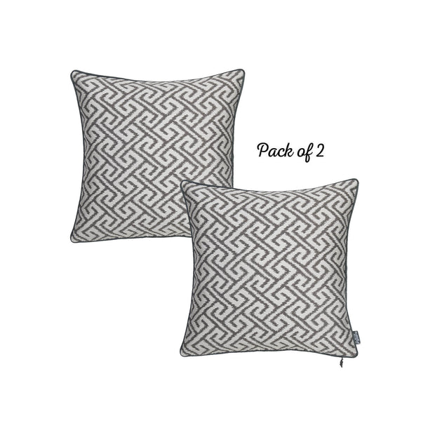 Jacquard Gray Shapes Decorative Throw Pillow Cover Set Of 2 Pcs 17''x 17'' Square