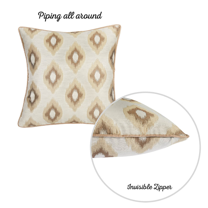 Jacquard Brown Slices Decorative Throw Pillow Cover Set Of 2 Pcs 17''x 17'' Square