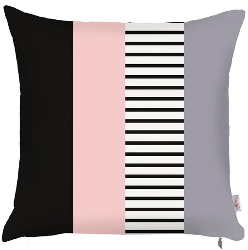 Scandi Square Mix Colored Patterns  Printed Decorative Throw Pillow Cover Home Decor 18''x18''