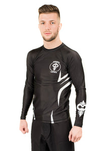 """Razor"" Series Rash Guard White on Black (Adult Sizes)"