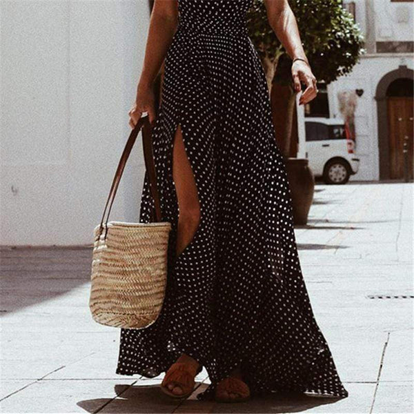 Gosfashion Fashion Wave Point V Neck Sleeveless Maxi Dress