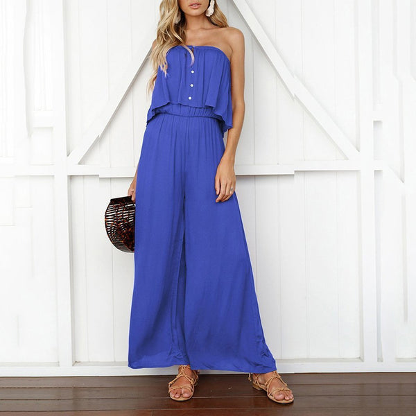 Gosfashion One-Word Collar Tube Top Loose Casual Jumpsuit Female Summer Trousers