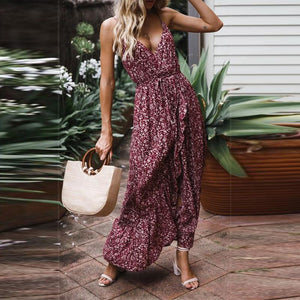 Gosfashion Sexy Bow Floral Camisole Vacation Dress