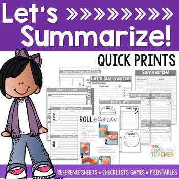 Summarizing Activities and Worksheets