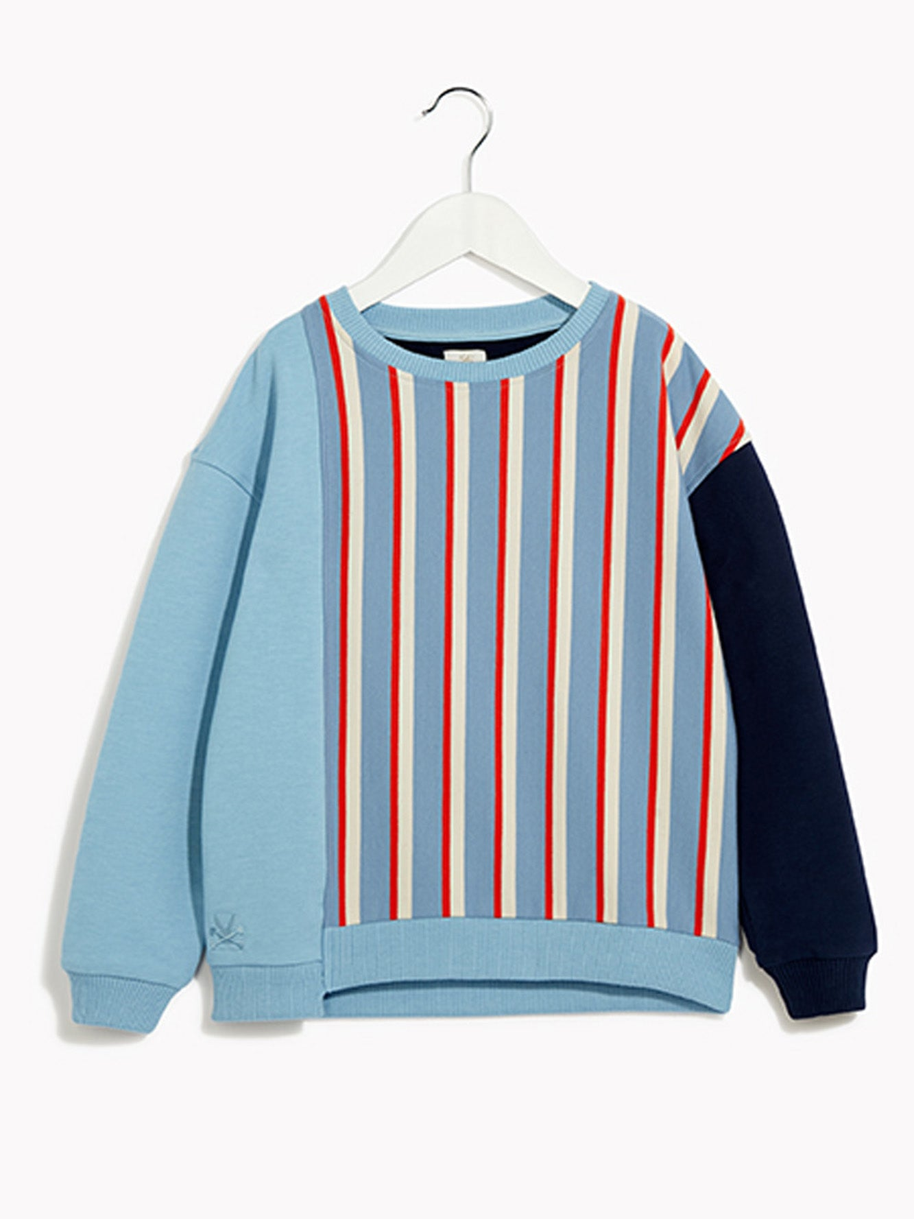 Boys Smart Striped Jumper - Long Sleeved Cut & Paste Brainy Blue Marl Sweat Top