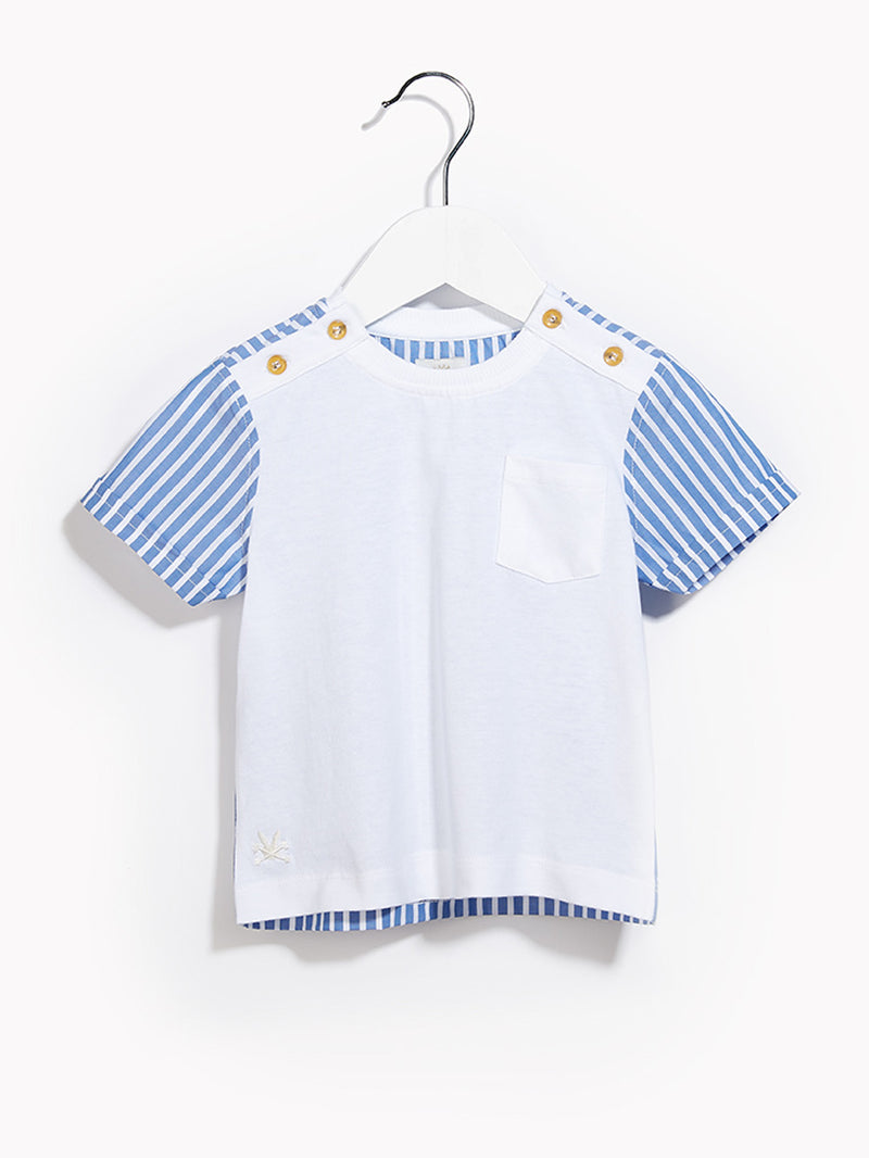 Little Boys Toddler T-Shirt - Toddlers Short Sleeved Untucked Canvas White & Biro Blue Stripe T-shirt
