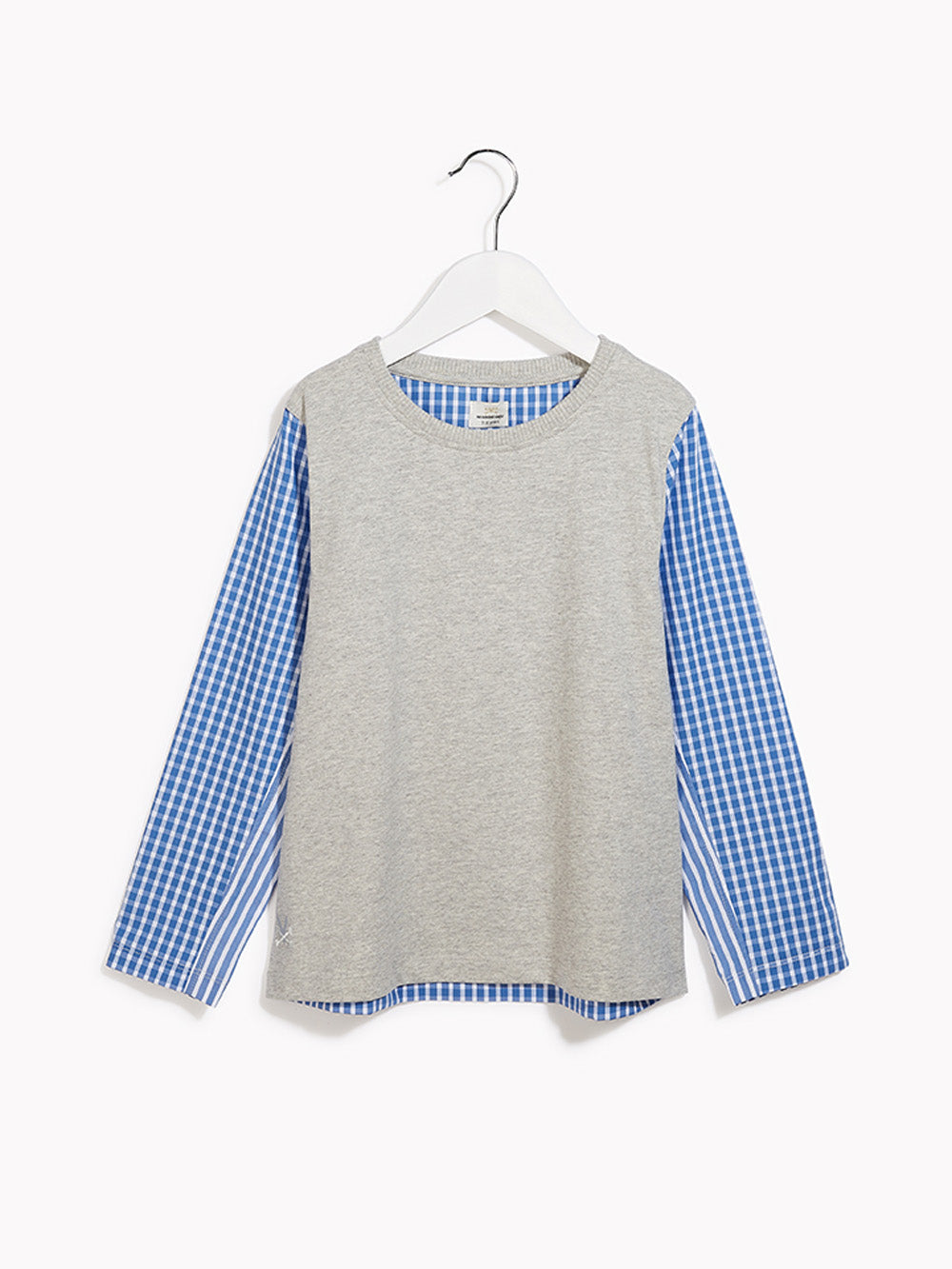 Boys Smart Long Sleeved Top - Shirt Sleeves Grey Marl & Biro Blue Stripe T-shirt