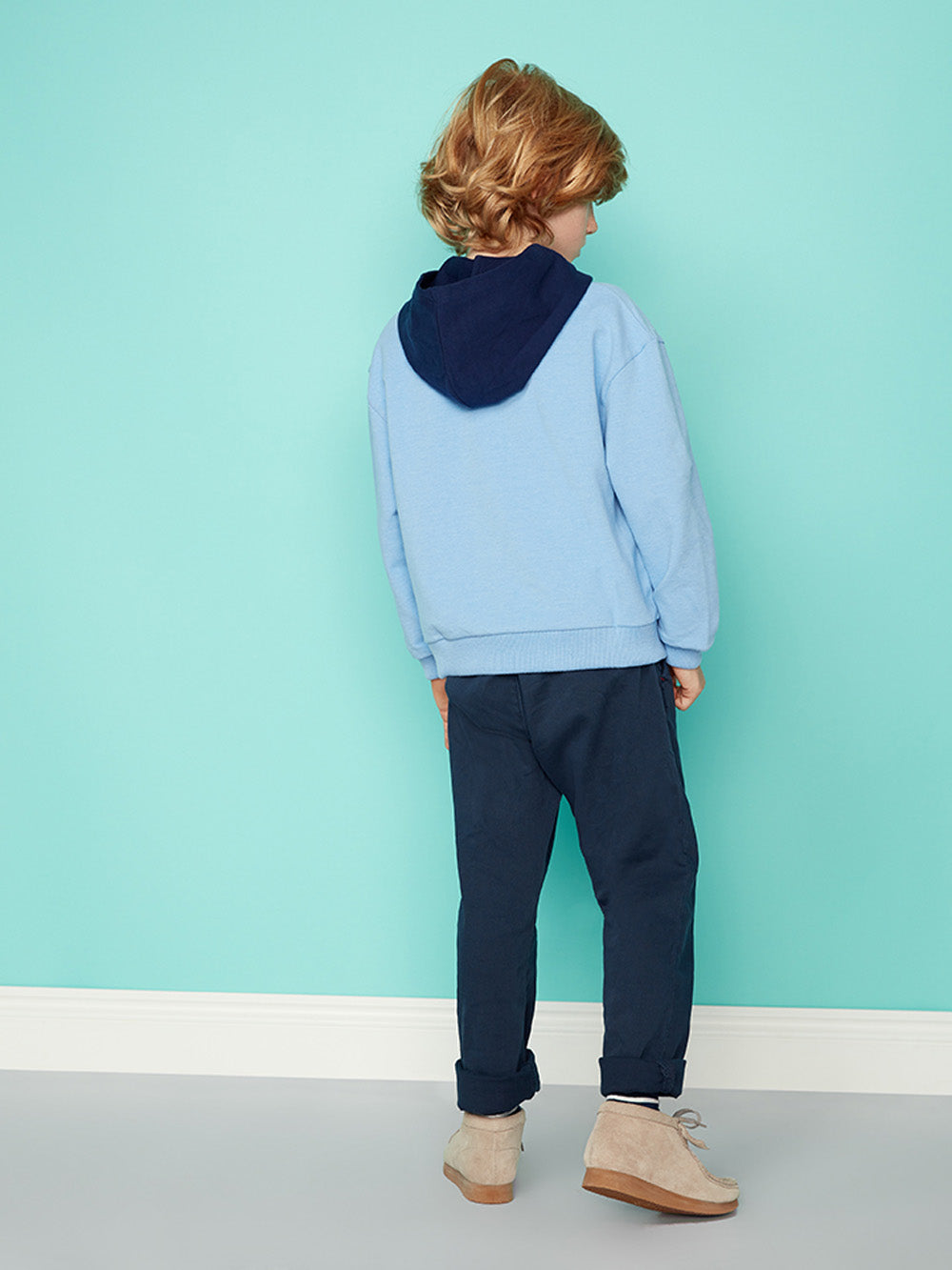 Boys Hooded Pull Over Hoody - With Flying Colours Brainy Blue Marl Sweat Top