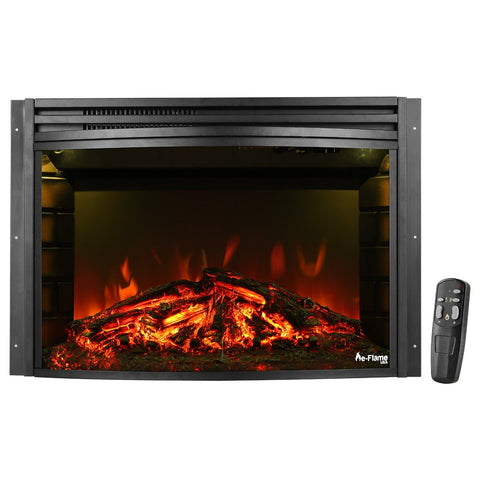 e-Flame USA Quebec Electric Fireplace Stove Insert (Matte Black) 27-inches