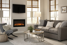 Touchstone 80014 Sideline Electric Fireplace - 36 Inch Wide - in Wall Recessed - 5 Flame Settings - Realistic 3 Color Flame - 1500/750 Watt Heater - Black