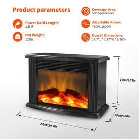 "DONYER POWER 14"" Mini Electric Fireplace Tabletop Portable Heater 1500W"