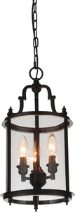 3 Light Drum Shade Mini Pendant with Oil Rubbed Bronze finish