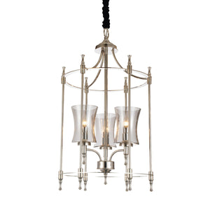 3 Light Up Chandelier with Satin Nickel finish