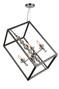 4 Light Up Chandelier with Luxor Silver finish