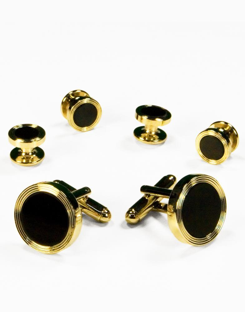 Black Circular Onyx with Gold Edge Concentric Circles Studs and Cufflinks Set