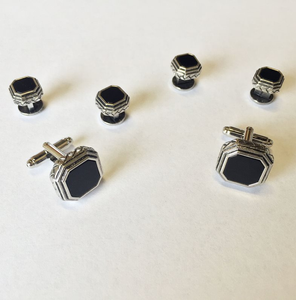 Black Octagon Onyx with Antique Silver Edge Studs and Cufflinks Set