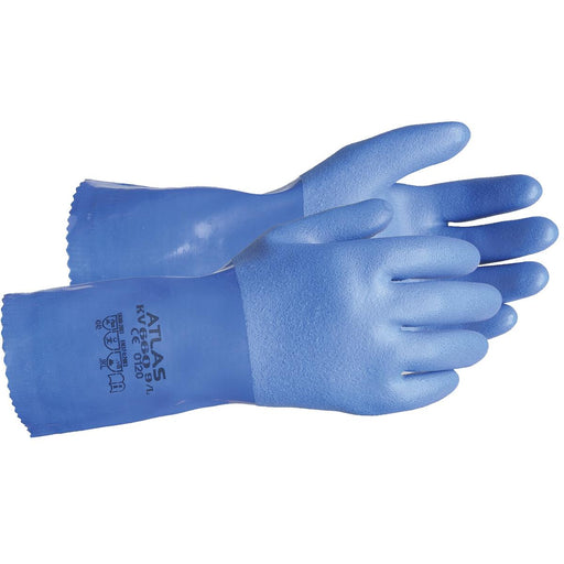 "Atlas 12"" PVC-Coated Gloves with Cut-Resistant Lining"