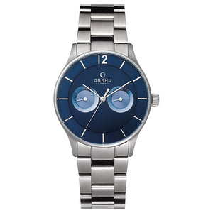 Silver Tone with Blue Dial Mens - Luft Denim Watch