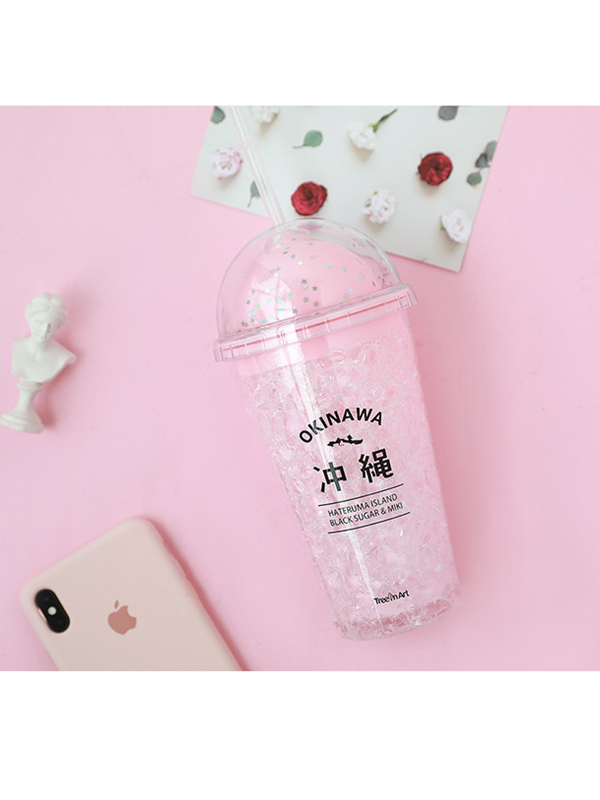 Modakawa Accessories Black Double Layer Summer Cooling Drink Cup Bottle With Drinking Straws