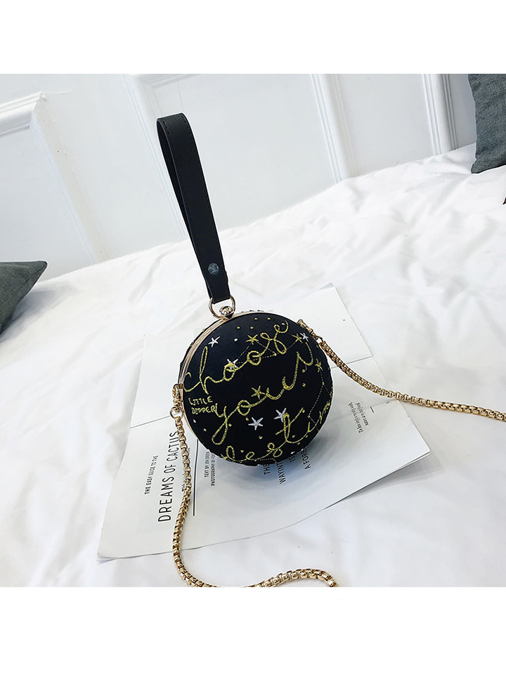 Modakawa Bag Black Mini Chain Sphere Crossbody Bag