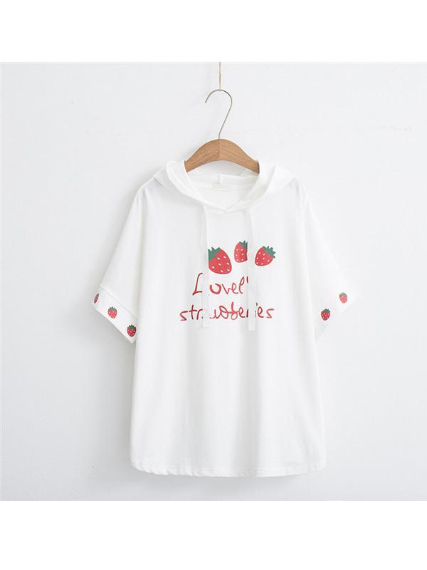 Modakawa Shirt White Strawberry Print Short Sleeve Hoodie