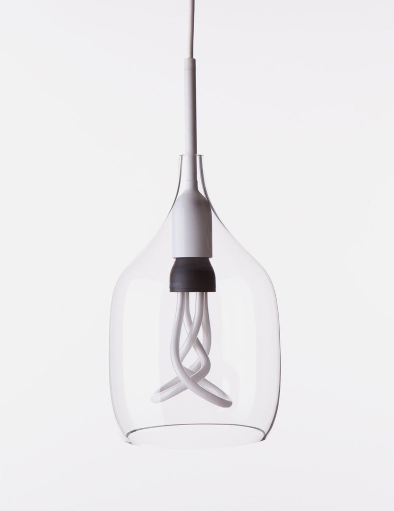 Vessel 1 Lamp Shade - Flat Cut - Clear Glass with Plumen 001 LED Bulb E26