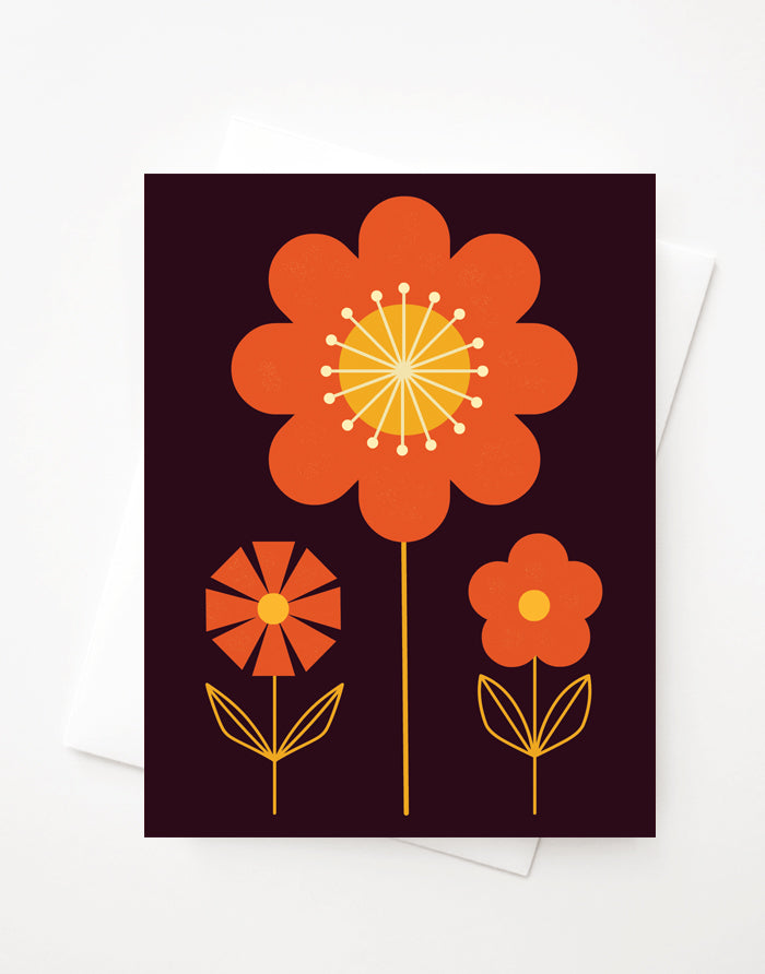 Bold Flowers Dark, Blank A2 greeting card with envelope
