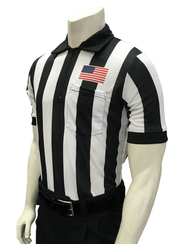"USA117-607 - Smitty ""Made in USA"" - ""BODY FLEX"" Football Short Sleeve Shirt w/ Flag Over Pocket"