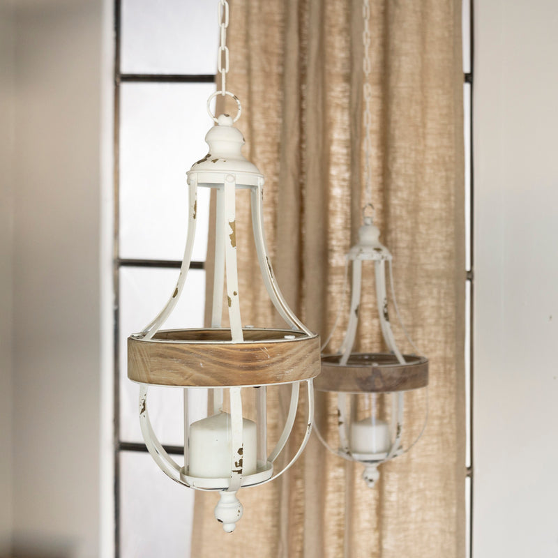 Metal/Wood Hanging Decor S/2