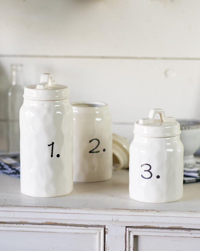 Ceramic Canisters Set/3 - 6.75 - 9.5in