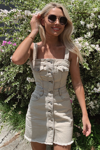 Smokin Denim Dress - Taupe