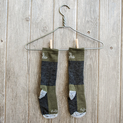 NSMB Wool socks - Moss/Charcoal