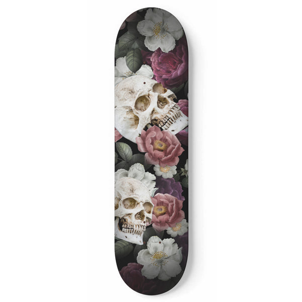 Skulls and Roses Skateboard Wall Art