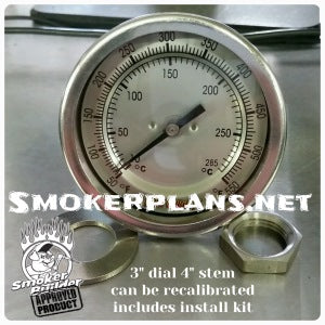 Stainless Face 3 inch dial 4 inch stem thermometer