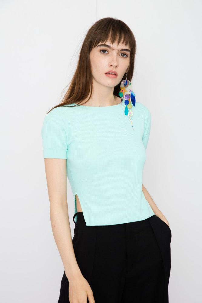 Lace Up Cropped Knit Top - AMENPAPA Fashion