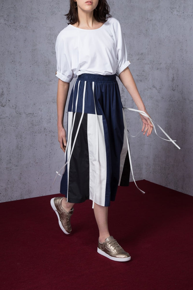 Contrast Paneled Cotton Midi Skirt - AMENPAPA Fashion